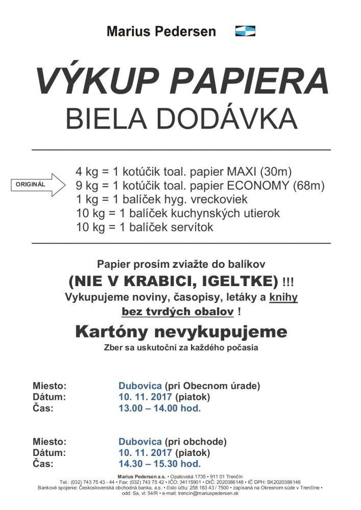 MP Výkup papiera Dubovica 10.11.2017